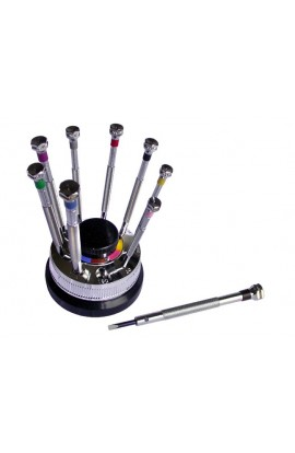 Screwdrivers set on rotating stand, 9 color-coded