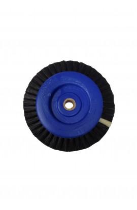 Brosse de soie noire centre plastique bleue