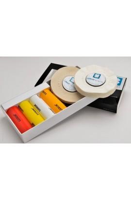 Boîte de 4 pâtes de polissage LUXOR+2 disques coton.