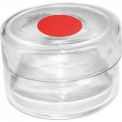 Récipient en verre pour rhodinette socle rouge